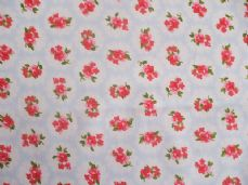 ROSE FLORAL100% COTTON FABRIC SHABBY CHIC VINTAGE RETRO PER METRE PALE BLUE NO1